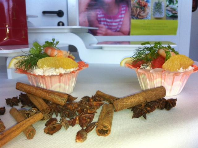tulipe de patate douce au crabe et 3 agrumes